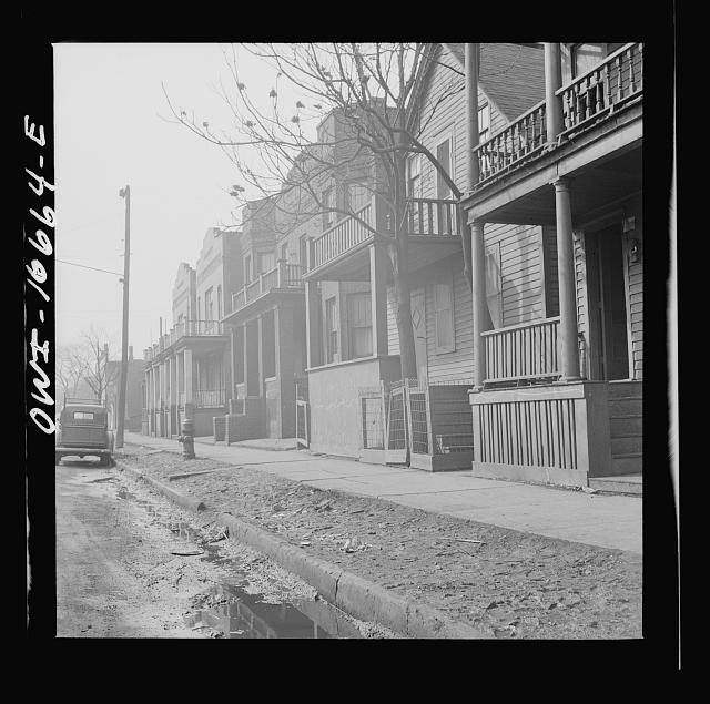 Detroit, Michigan. Typical Negro residential fronts. These are conditions under which families originally lived before moving to the Sojourner Truth project