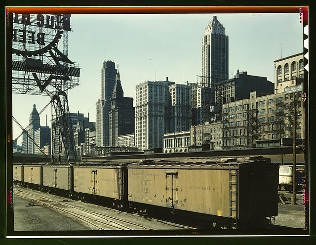 General View of Illinois Central Railroad Freight Terminal, Chicago, Illinois, Jack Delano, photographer, April 1943. America from the Great Depression to World War II: Photographs from the FSA and OWI, ca. 1935-1945