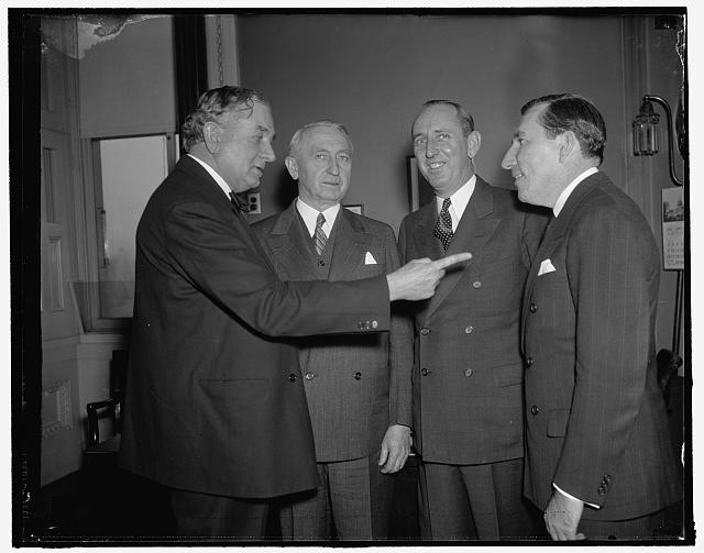 Filibuster against anti-lynching bill. Washington, D.C., Jan. 27. Members of the bloc of Southern Senators who have been filibusting against the anti-lynching bill for the last 20 days and are still going strong, left to right: Senator Tom Connaly, of Texas, Sen. Walter F. George, of Ga.; Sen. Richard Russell of Ga.; and Sen. Claude Pepper of Florida, 1/27/38