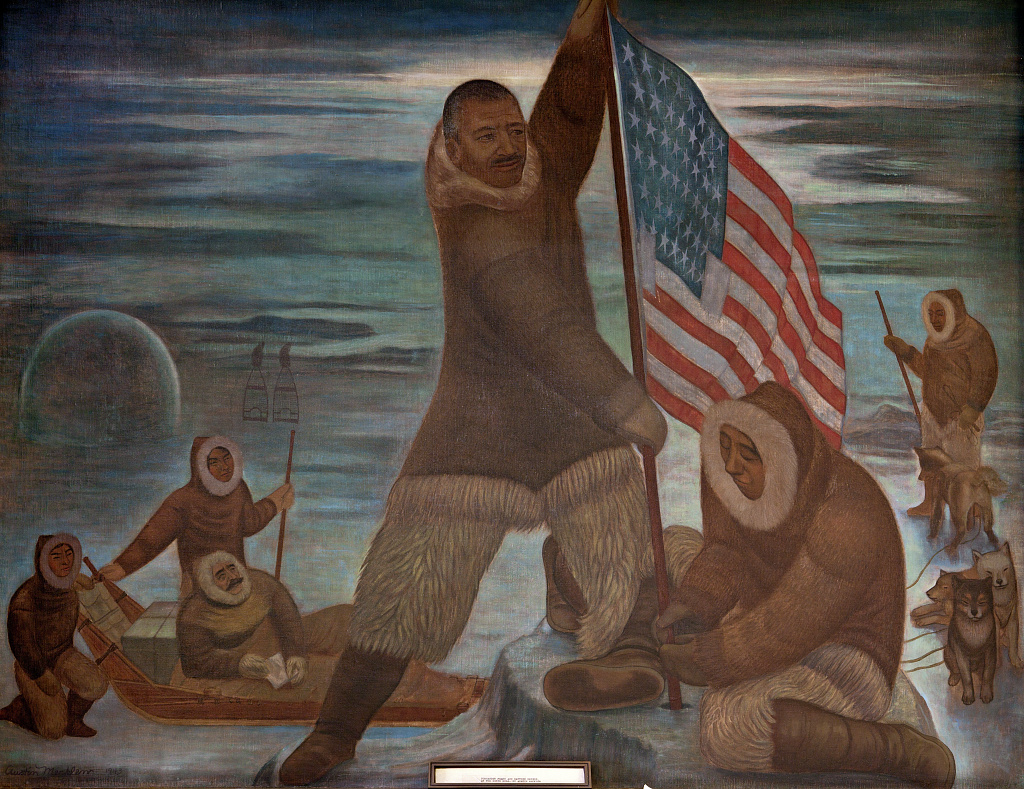 Mural of Alexander Henson planting the American flag at North Pole, by Austin Mecklem, at the Recorder of Deeds building, built in 1943. 515 D St., NW, Washington, D.C. Library of Congress image