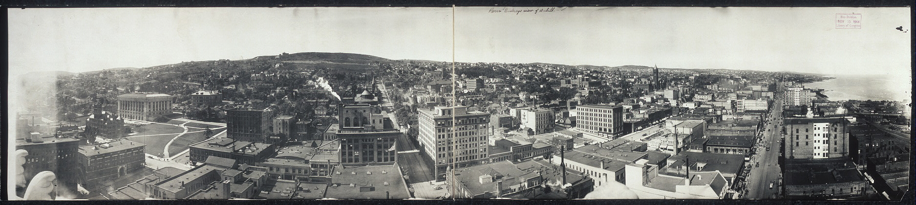 Bird's eye view of Duluth Minnesota, 1914, via Library of Congress