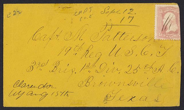 [Stamped envelope addressed to Capt. M. Patterson]