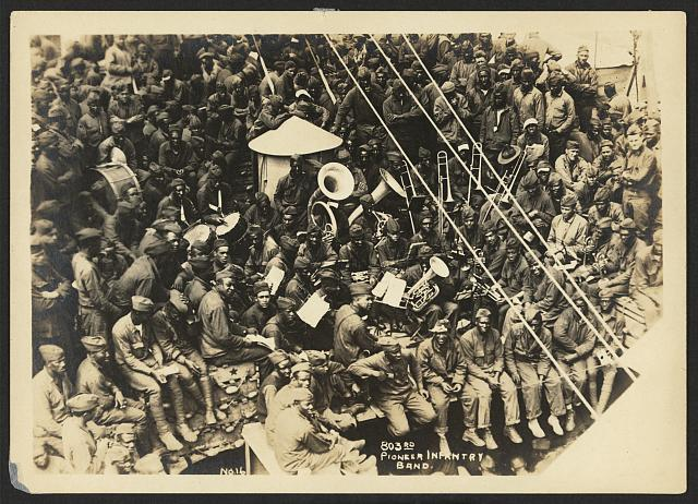 [803rd Pioneer Infantry Battalion on the U.S.S. Philippine from Brest harbor, France, July 18, 1919]. no. 16, 803rd Pioneer Infantry band