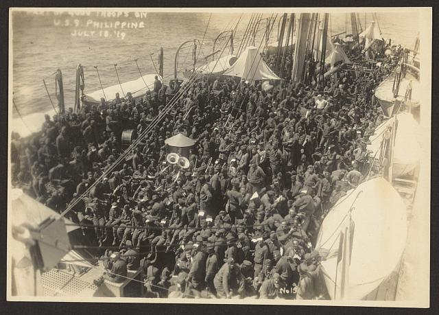 [803rd Pioneer Infantry Battalion on the U.S.S. Philippine (troop ship), from Brest harbor, France, July 18, 1919] no. 15, Part of 4000 troops on U.S.S. Philippine