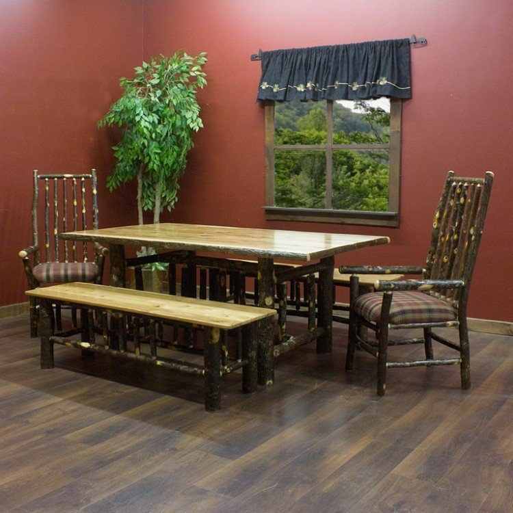 Hickory Log Dining Tables and Rustic Hickory Tables
