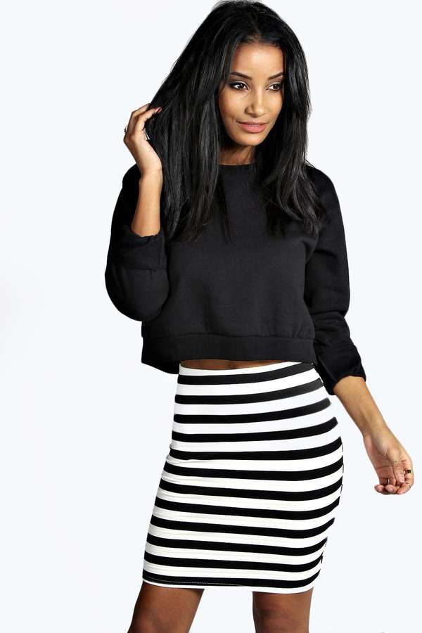 Black And Gray Striped Skirt - Skirts