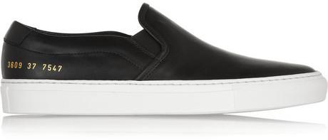 Black Leather Slip On Sneakers