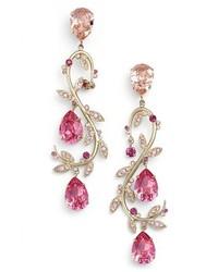 Oscar De La A Crystal Swirl Drop Earrings