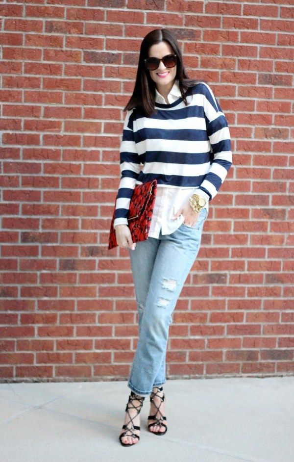 Navy And White Striped Sweater Womens - Baggage Clothing