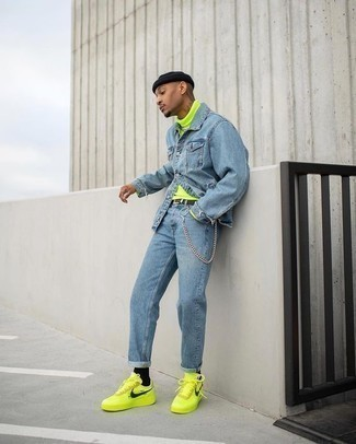 Neon Outfits For Guys : outfits, Light, Denim, Shirt, Turtleneck, Outfits, Their, Ideas, Outfits), Lookastic