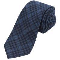 Altea Gange Textured Plaid Tie Wool Cashmere Navy | Where ...
