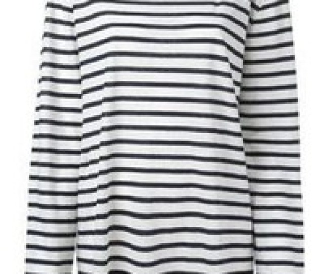 White And Black Horizontal Striped Long Sleeve T Shirt