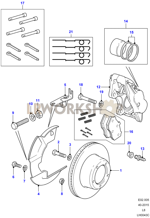 Brake Caliper Parts Diagram : brake, caliper, parts, diagram, Front, Brake, Calipers, Discs, Rover, Parts, Workshop