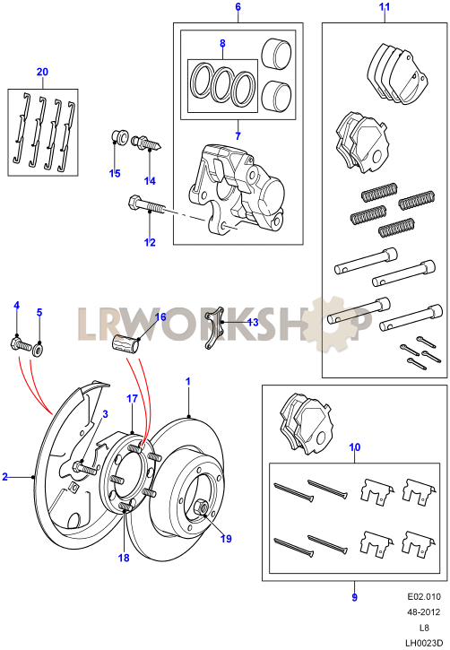 Brake Caliper Parts Diagram : brake, caliper, parts, diagram, Brake, Calipers, Discs, Rover, Parts, Workshop