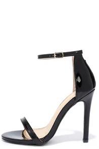 VIP Ticket Black Patent Ankle Strap Heels