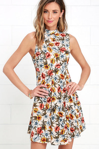Mine all Mine Beige Floral Print Dress