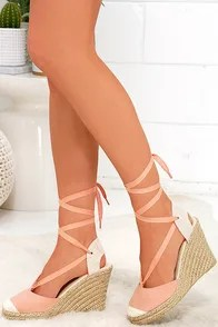 Light-Footed Melon Pink Suede Espadrille Wedges