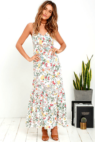 Somedays Lovin' Sunny May Ivory Floral Print Maxi Dress