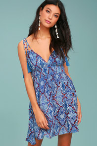 In Love with Love Blue Print Backless Skater Dress