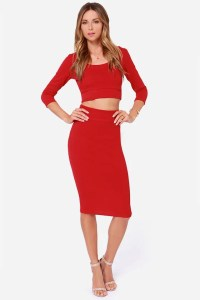 Sexy Red Dress - Two-Piece Dress - Top and Skirt Set - $77.00
