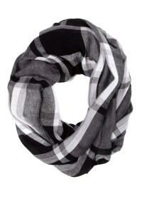 Cool Plaid Scarf - Grey Infinity Scarf - Circle Scarf - $12.00