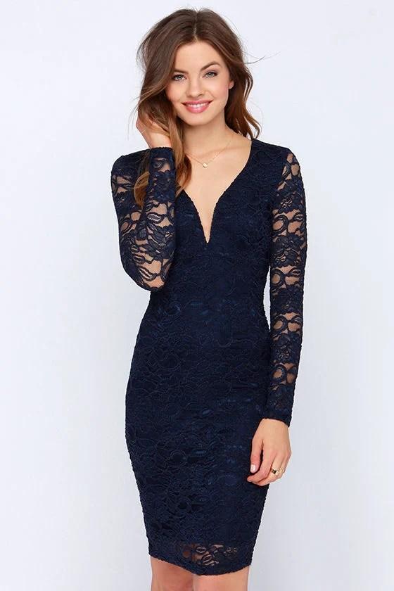 Lovely Navy Blue Dress  Lace Dress  Midi Dress  Long