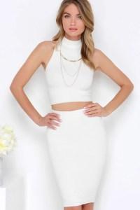 Cream Two-Piece Dress - Bodycon Dress - White Dress - $82.00
