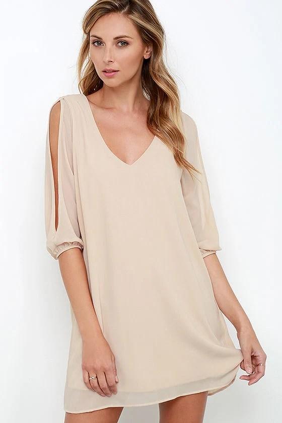 Shifting Dears Light Beige Long Sleeve Dress at Lulus.com!