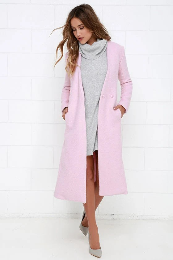 Streetlight Soiree Light Pink Coat at Lulus.com!