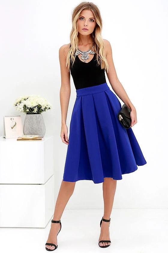 Lovely Royal Blue Skirt - Blue Midi Skirt - Pleated Midi Skirt - $62