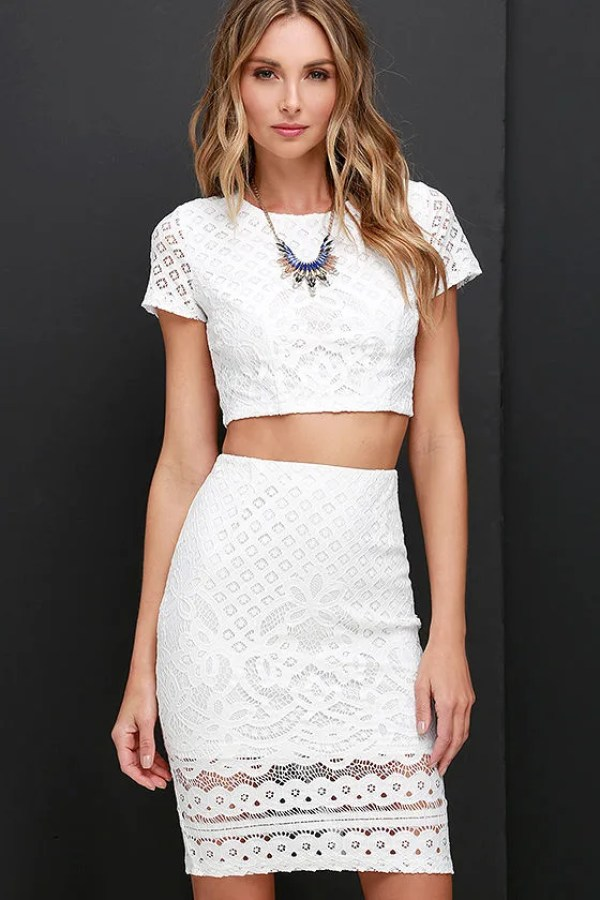 Graceful Dancer Ivory Lace Two-Piece Dress at Lulus.com!