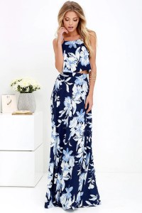 Lovely Blue Floral Print Dress - Two-Piece Dress - Maxi ...