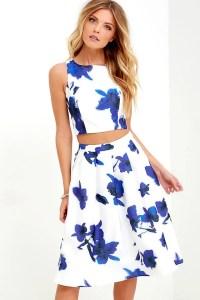 Two-Piece Dress - Floral Print Dress - Midi Dress - $74.00