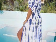 Lovely Blue Tie-Dye Dress - Wrap Dress - Maxi Dress ...