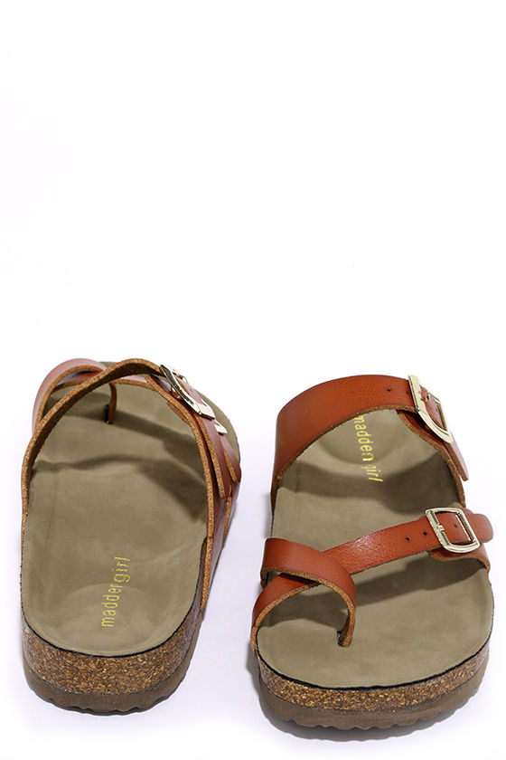 Madden Girl Bryceee  Cognac Slide Sandals  Cork Sandals
