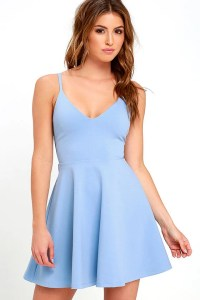 Cute Light Blue Dress - Skater Dress - Fit-and-Flare Dress ...