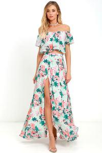 Floral Print Two-Piece Dress - Two-Piece Maxi Dress - Mint ...