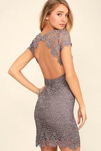 Cute Backless Dress - Grey Dress - Lace Dress - $58.00