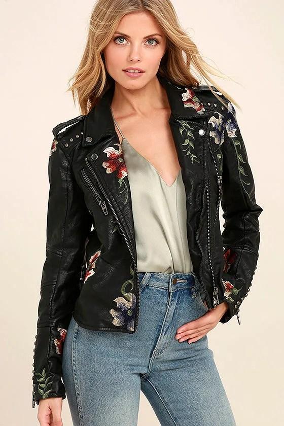 Blank NYC As You Wish Embroidered Moto Jacket Studded Moto Jacket 16800