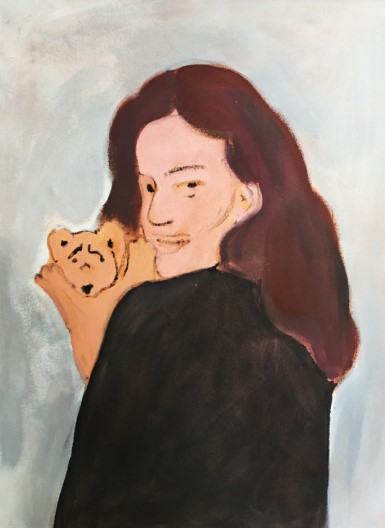Vassilis H. Woman with puppet, 2020 Acrylic on canvas 80 x 60 cm