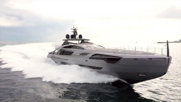 The Hong Kong-owned Pershing 140 was shown at the Monaco Grand Prix in late May