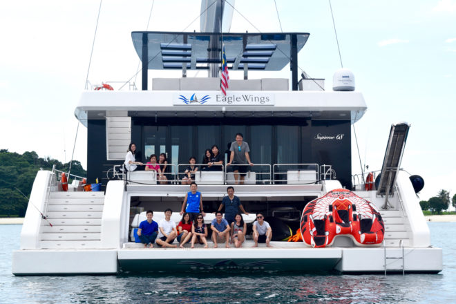 Eagle Wings, a Sunreef Supreme 68 sailing catamaran, can cater for up to 50 guests during the day