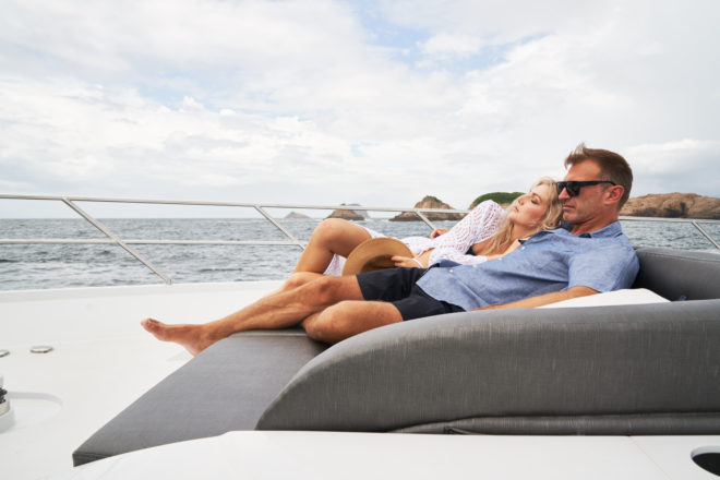 The simple foredeck offers a three-quarter length double sunpad