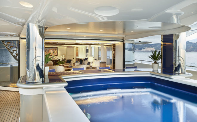 The main swimming pool is on the aft main deck