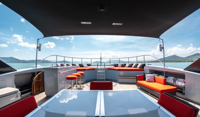 The sun deck on Ocean Emerald, which operates in the Andaman Sea and Gulf of Thailand