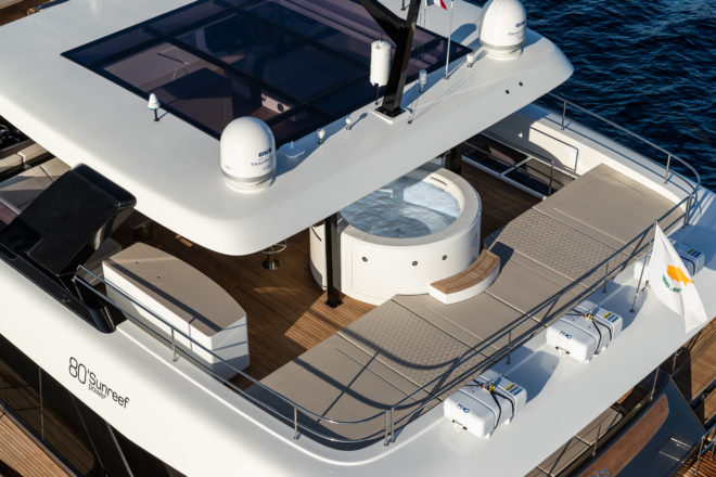 The flybridge of the 80 Sunreef Power has an enormous sunbathing area; hull one features a jacuzzi