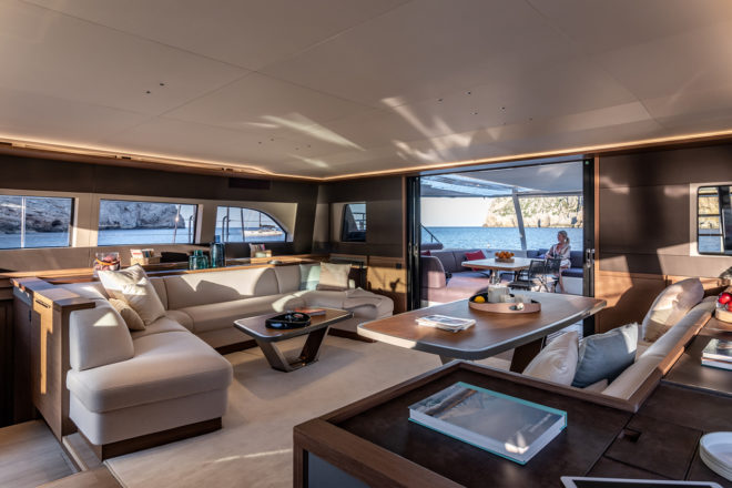 In the galley-down version, as chosen by Simpson Marine clients in Malaysia and Taiwan, the dining area is portside and the lounge is to starboard