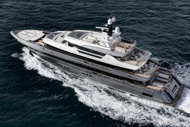 The first 64Steel has a helipad and a volume of 1,600GT, so was a huge step up for the Argentine owner, whose previous yacht was a Sanlorenzo 46Steel; Photos: ©Guillaume Plisson for Sanlorenzo