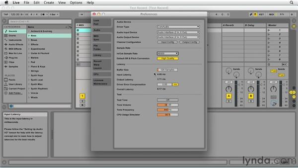 Preparing to record audio