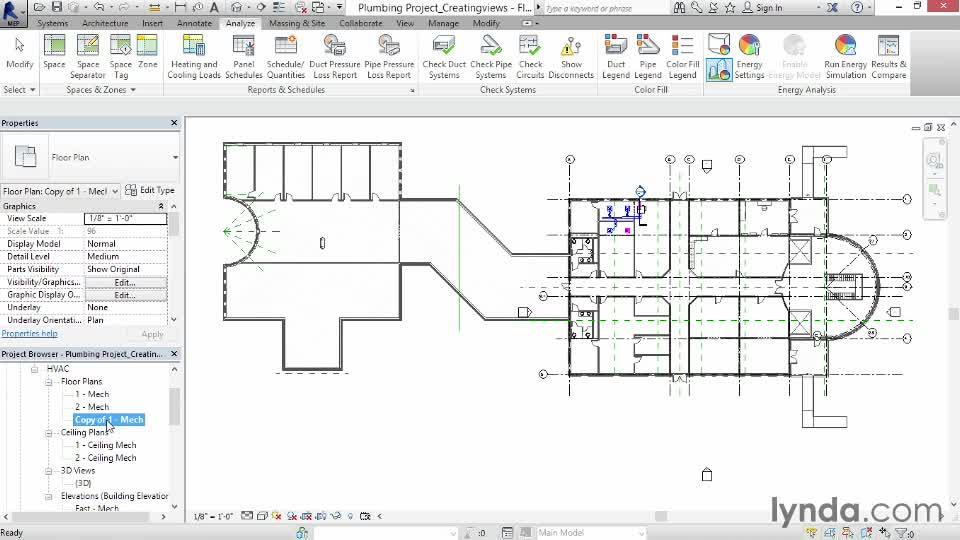 Creating a plumbing view from the Course Revit MEP 2014